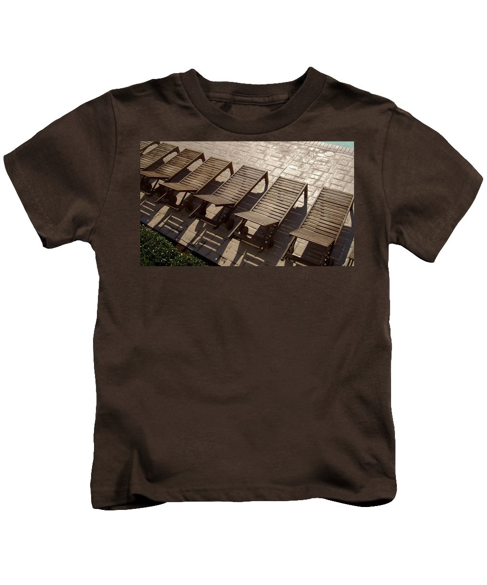 Swimming Pool Kids T-Shirt featuring the photograph Sunning Chairs by Deborah Crew-Johnson