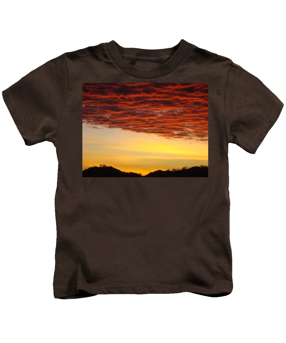 Sunset Kids T-Shirt featuring the photograph Sunset Art Prints Canvas Orange Clouds Twilight Sky Baslee Troutman by Baslee Troutman