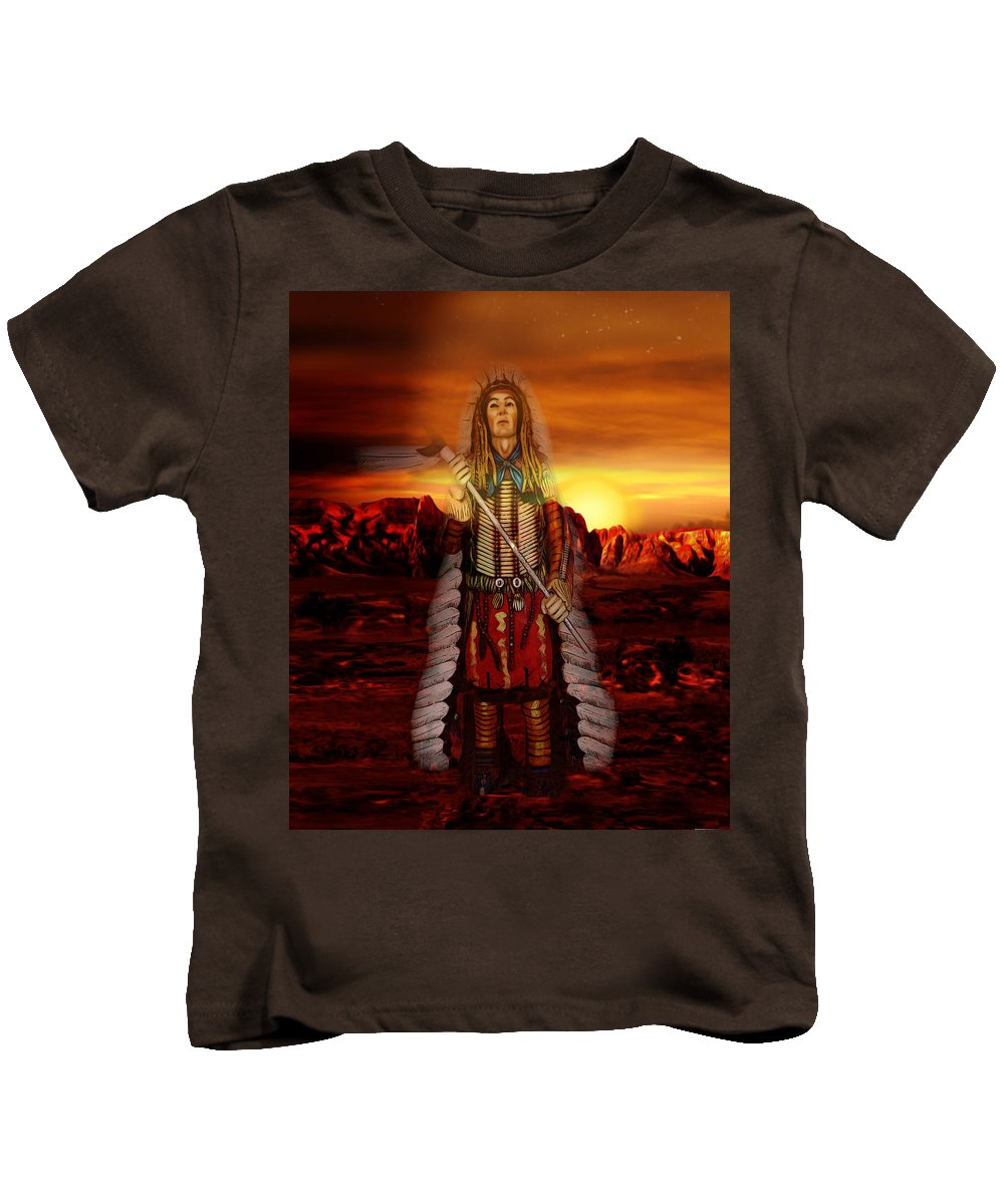 Sunrise Kids T-Shirt featuring the digital art Sunset Indian Chief by Gravityx9 Designs