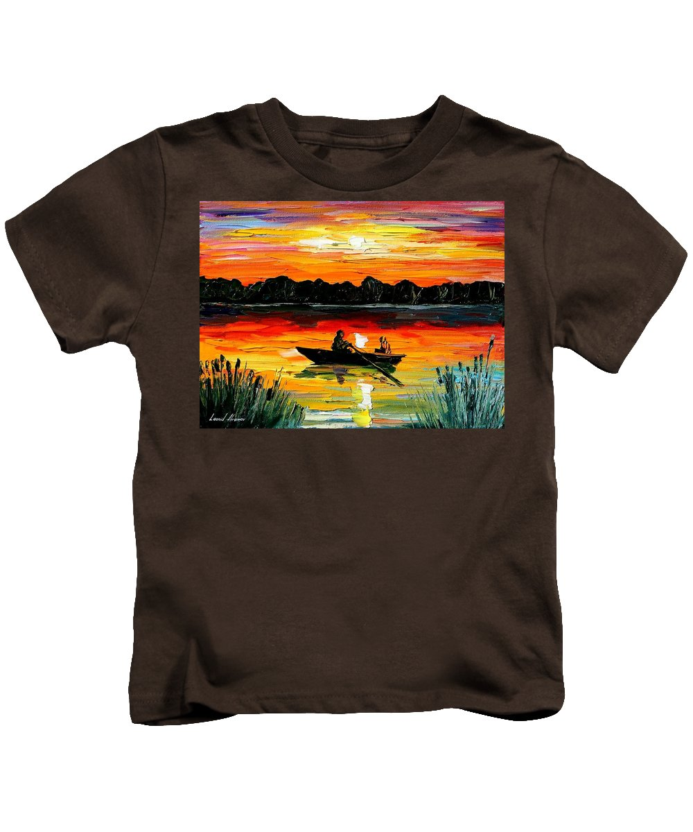 Boat Kids T-Shirt featuring the painting Sunset Over The Lake by Leonid Afremov