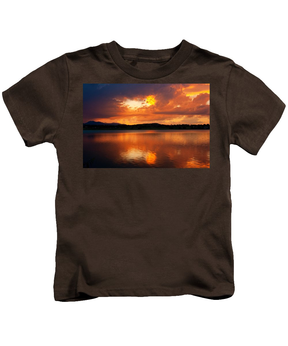 Golden Kids T-Shirt featuring the photograph Sunset With A Golden Nugget by James BO Insogna