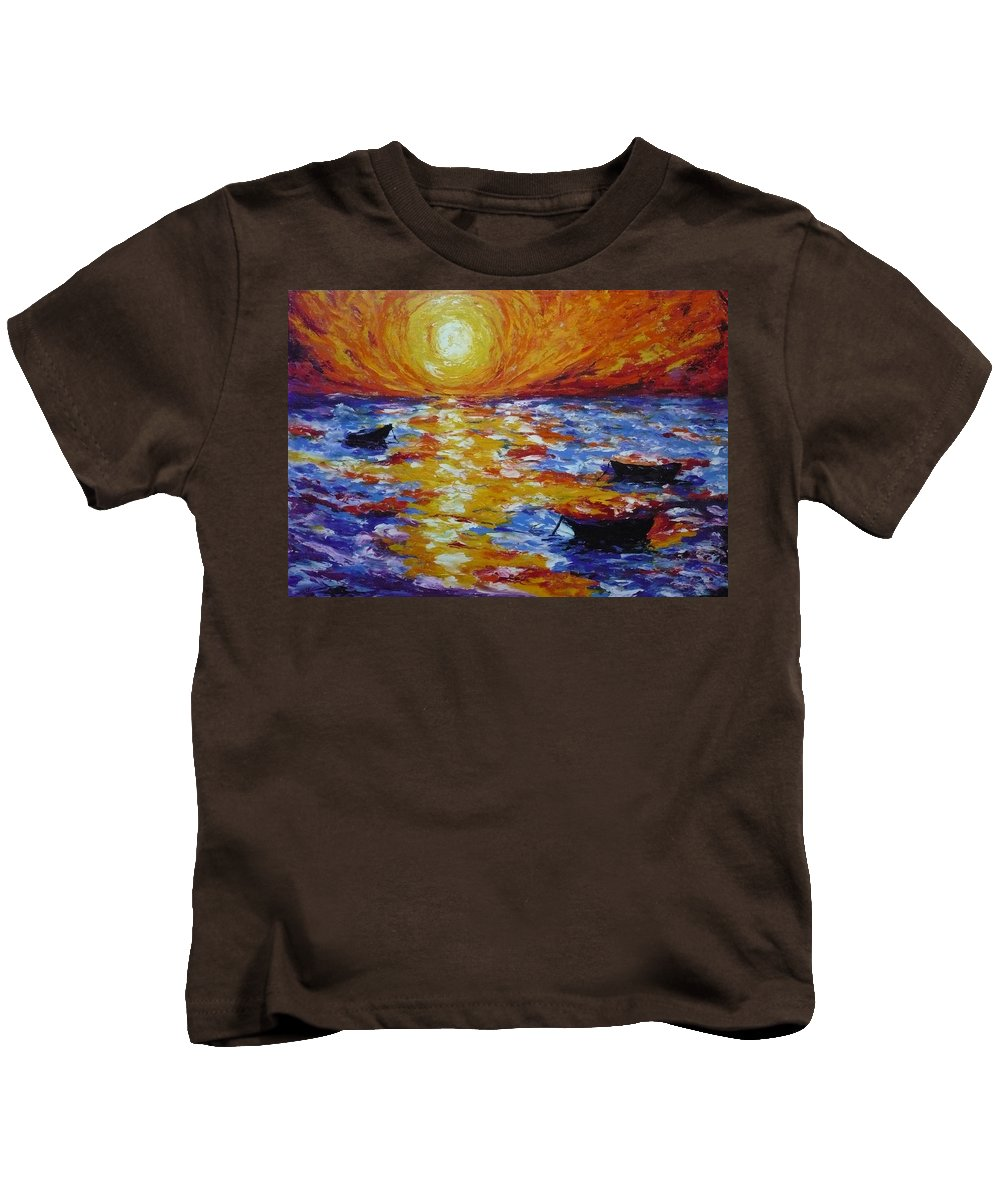 Landscape Kids T-Shirt featuring the painting Sunset With Three Boats by Ericka Herazo