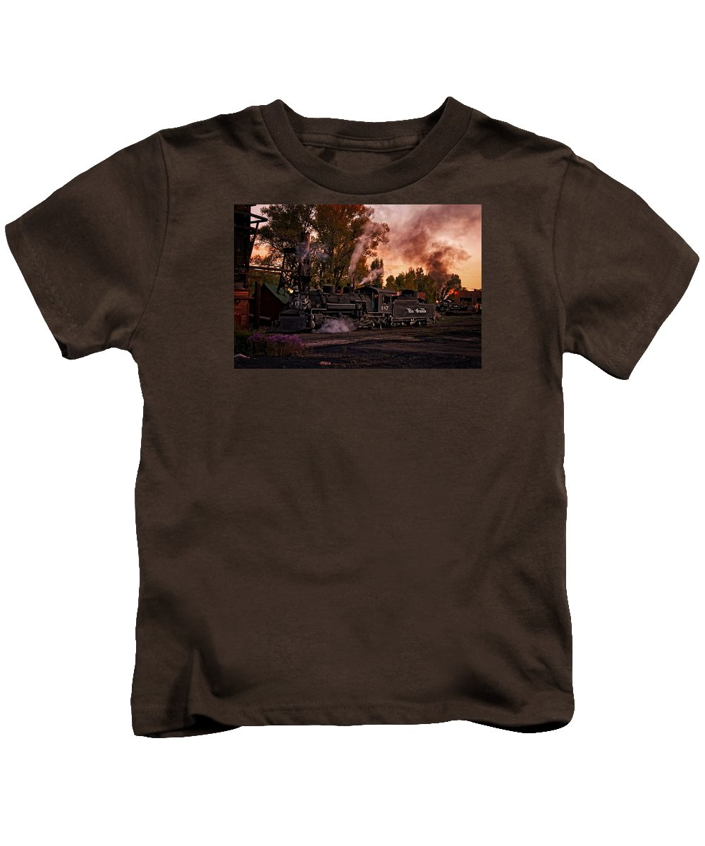 Train Kids T-Shirt featuring the photograph Sunset Work Dogs by Ken Smith