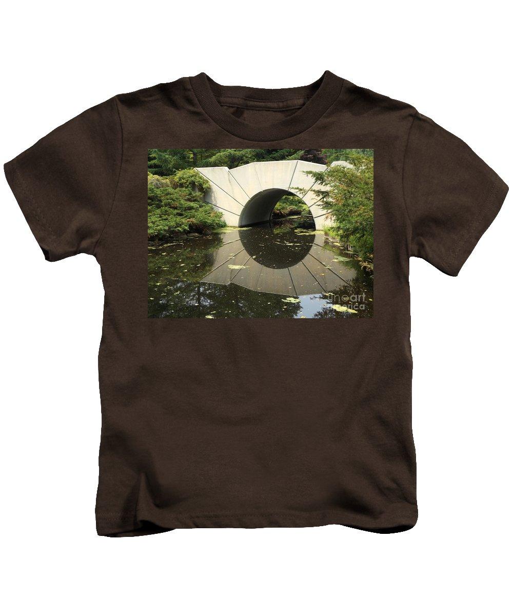 Bridge Kids T-Shirt featuring the photograph Sunshine Brige Reflection by Erick Schmidt