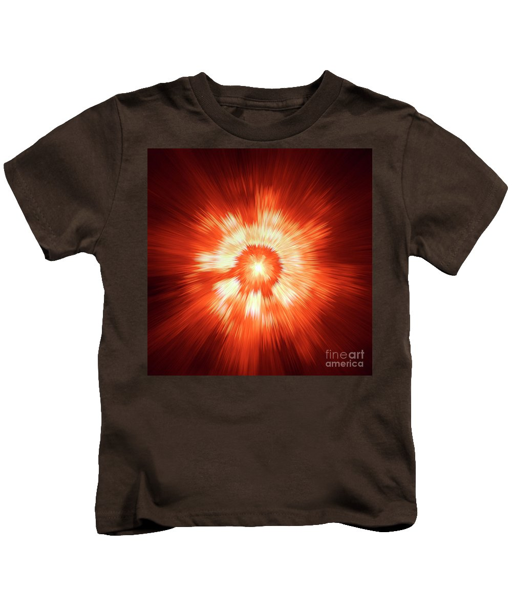 Supernova Genesis Big Bang Ray X-ray Explosion Abstract Beam Universe Expressionism Dynamic Energy Power Color Colorful Red Yellow Modern Sun Sf Kids T-Shirt featuring the digital art Supernova 2 by Steve K
