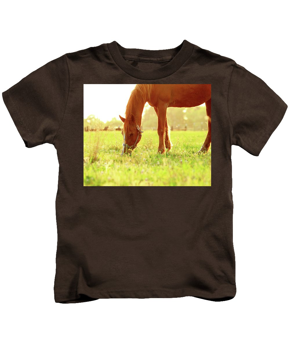 Horse Kids T-Shirt featuring the photograph Supper Time by Joe Gilbreath