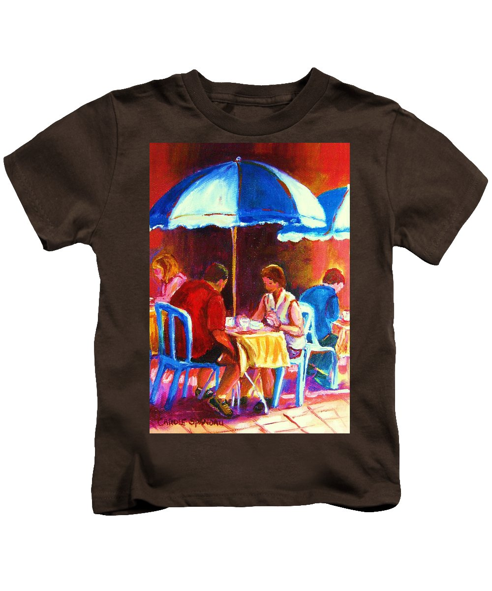 St. Denis Outdoor Cafe Montreal Street Scenes Kids T-Shirt featuring the painting Tea For Two by Carole Spandau