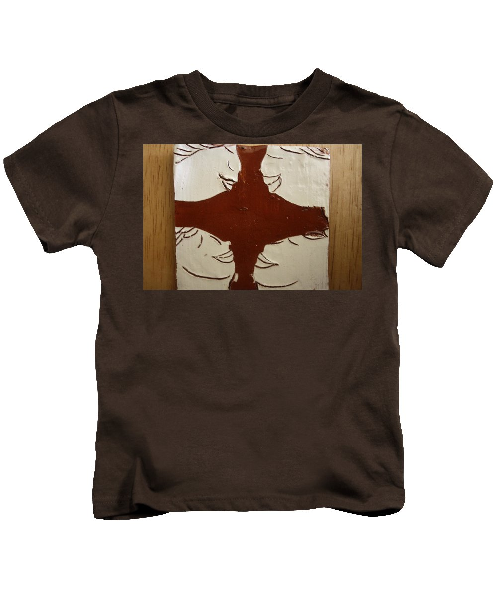 Jesus Kids T-Shirt featuring the ceramic art Tea Time - Tile by Gloria Ssali