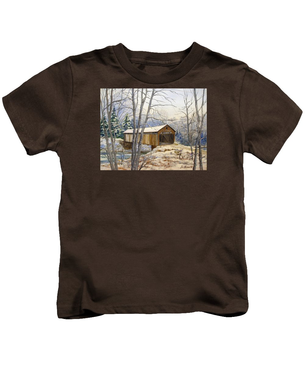 Oil Painting;bridge;covered Bridge;winter Scene;snow;landscape;winter Landscape; Kids T-Shirt featuring the painting Teegarden Covered Bridge In Winter by Lois Mountz