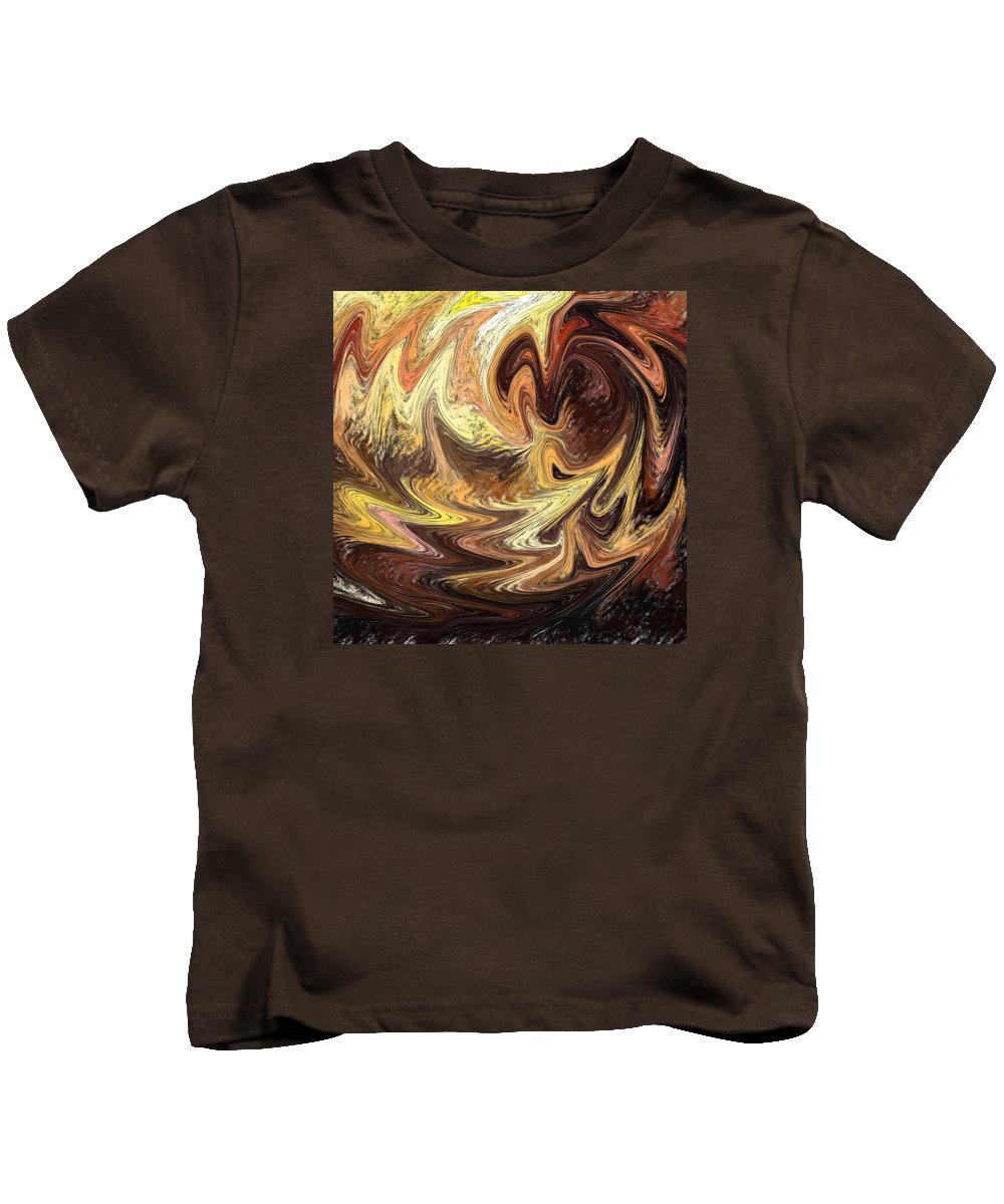 Abstract Kids T-Shirt featuring the painting Terrestrial Flames Abstract by Irina Sztukowski