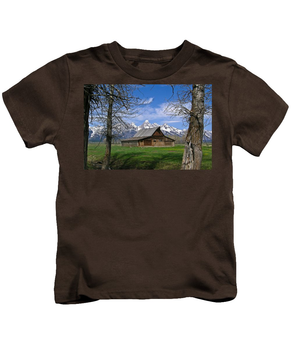 Teton Kids T-Shirt featuring the photograph Teton Barn by Douglas Barnett