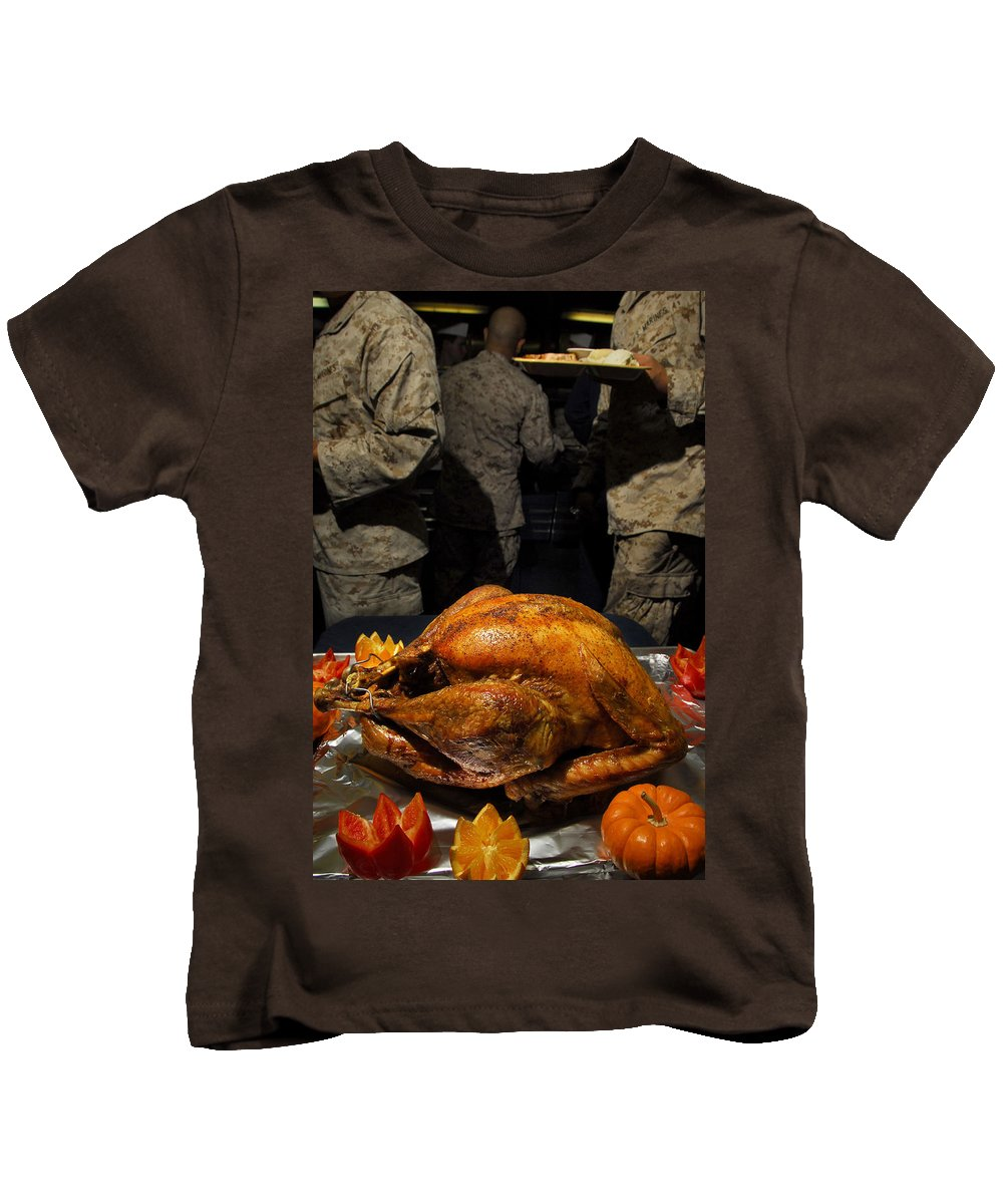 Turkey Kids T-Shirt featuring the photograph Thanksgiving Turkey For Us Military Servicemen by PhotographyAssociates