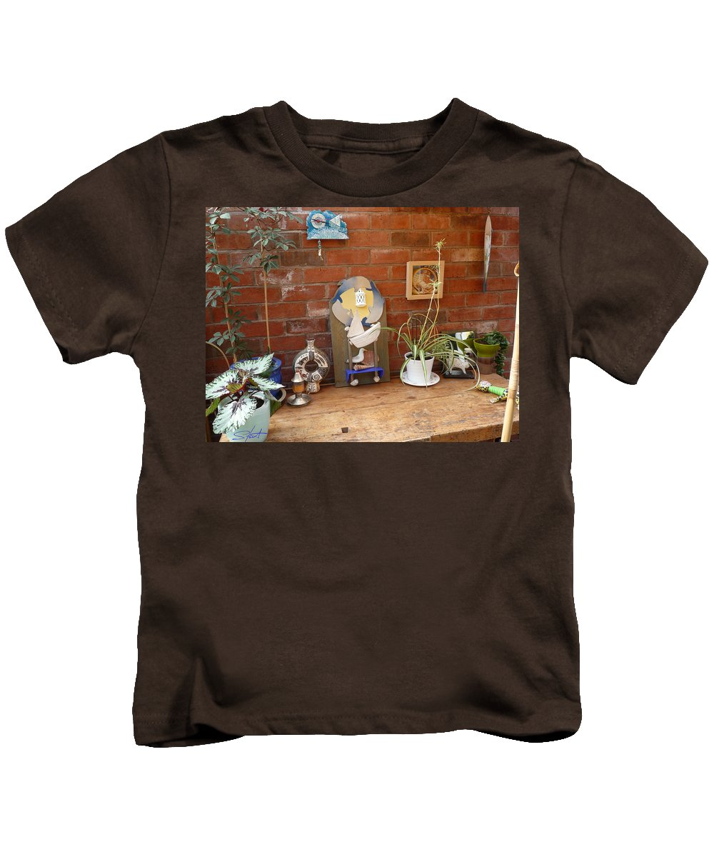 Table Kids T-Shirt featuring the photograph The Artists Bench by Charles Stuart