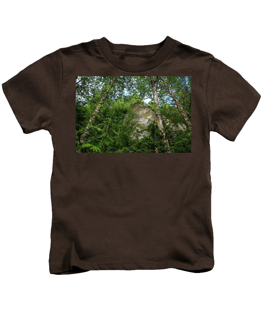 Mountains Kids T-Shirt featuring the photograph The Base Of Beacon Rock by Jeff Swan
