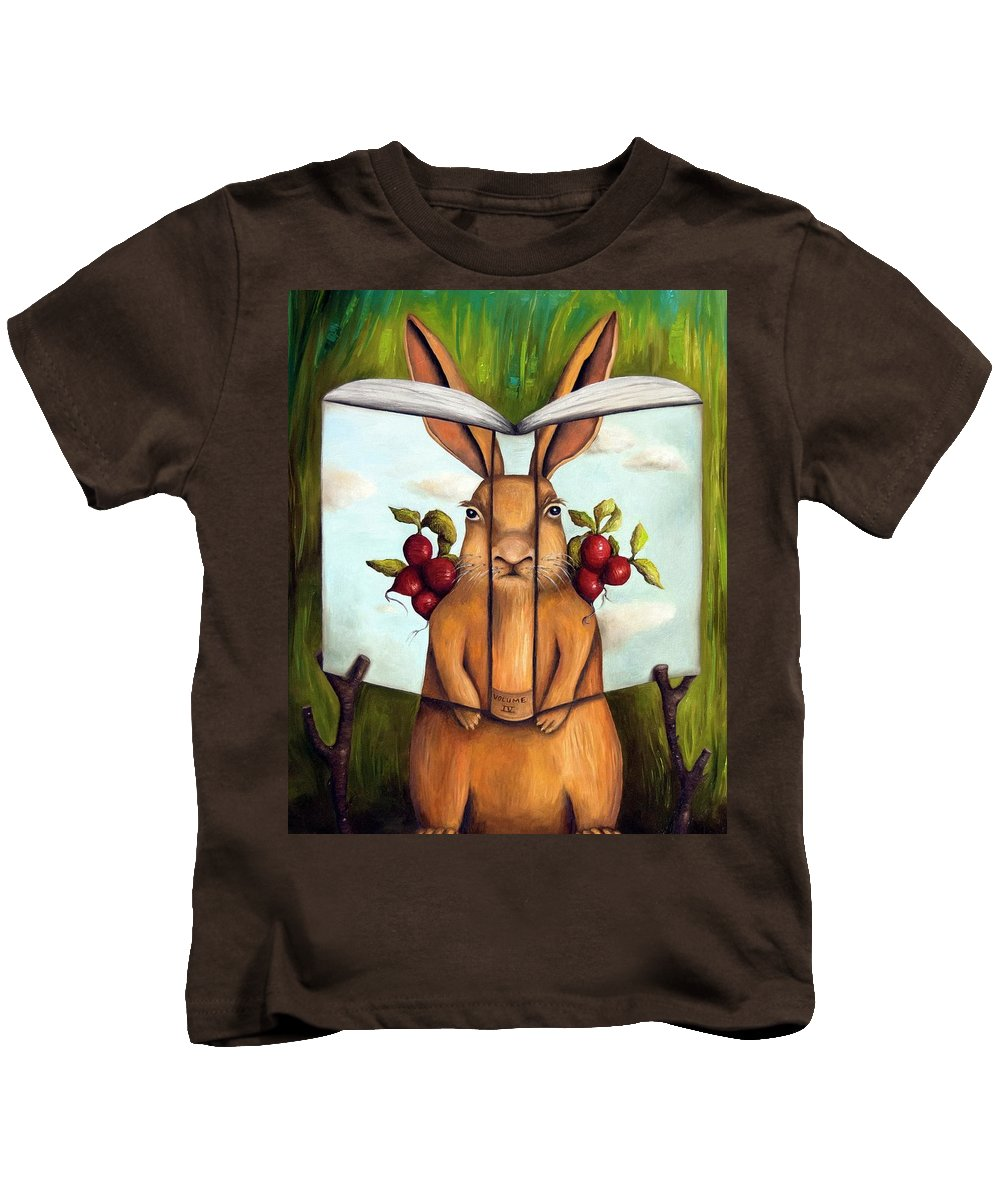 Rabbit Kids T-Shirt featuring the painting The Book Of Secrets 4-the Rabbit Story by Leah Saulnier The Painting Maniac