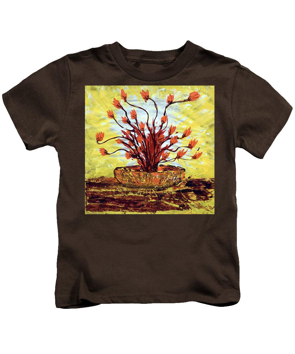 Red Bush Kids T-Shirt featuring the painting The Burning Bush by J R Seymour