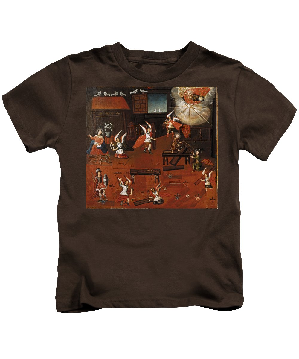 Unknown Kids T-Shirt featuring the painting The Carpenters Shop In Nazareth by Unknown