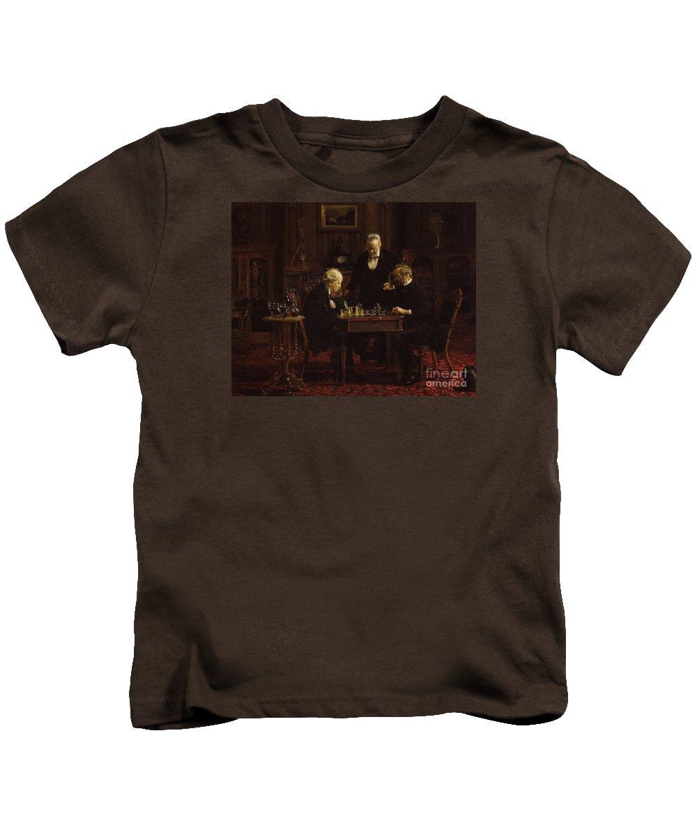 The_chess_players_thomas_eakins Kids T-Shirt featuring the painting The Chess Players by MotionAge Designs