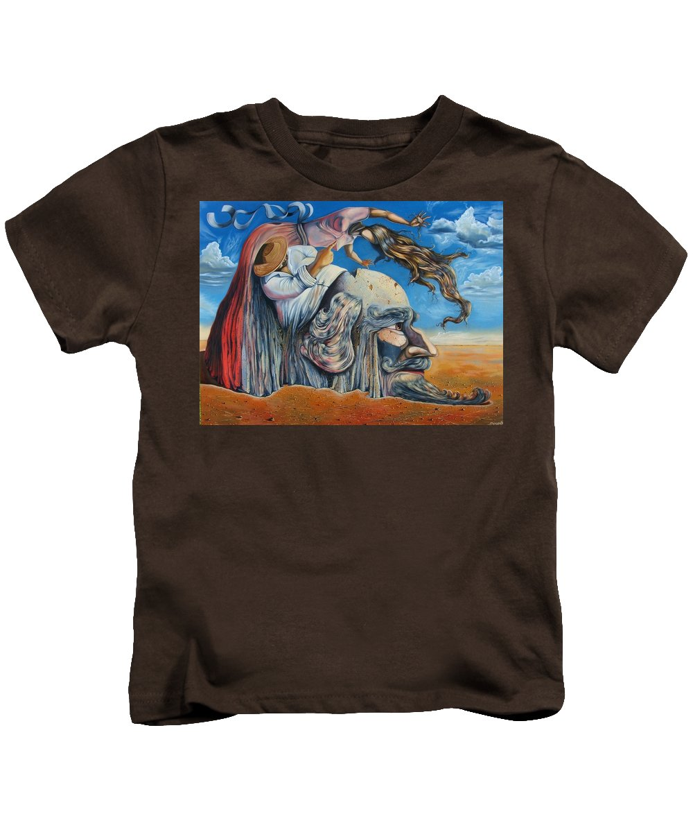 Surrealism Kids T-Shirt featuring the painting The Eternal Obsession Of Don Quijote by Darwin Leon