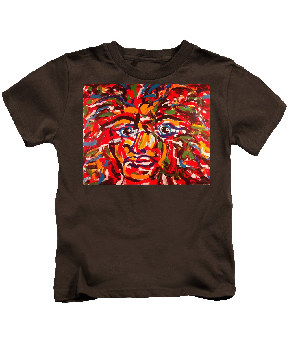 Abstract Kids T-Shirt featuring the painting The Fearless Warrior by Natalie Holland