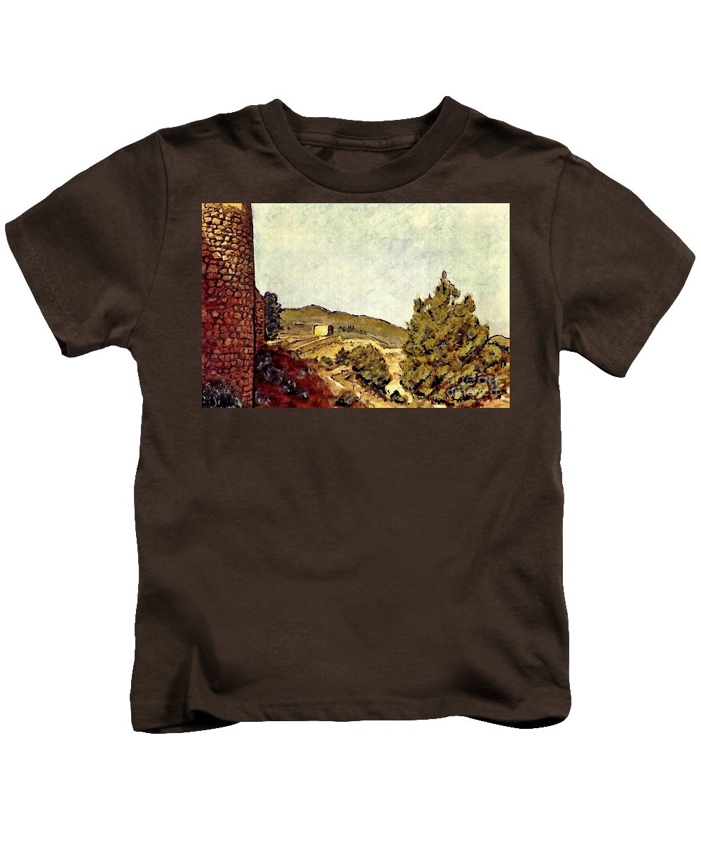 Fort Kids T-Shirt featuring the mixed media The Fort In Lorca by Sarah Loft