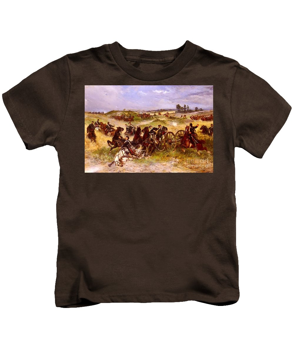 James Alexander Walker - The Fray Of Battle Kids T-Shirt featuring the painting The Fray Of Battle by MotionAge Designs