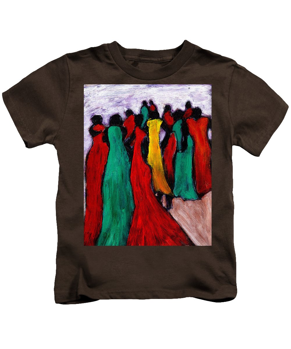 Black Art Kids T-Shirt featuring the painting The Gathering by Wayne Potrafka
