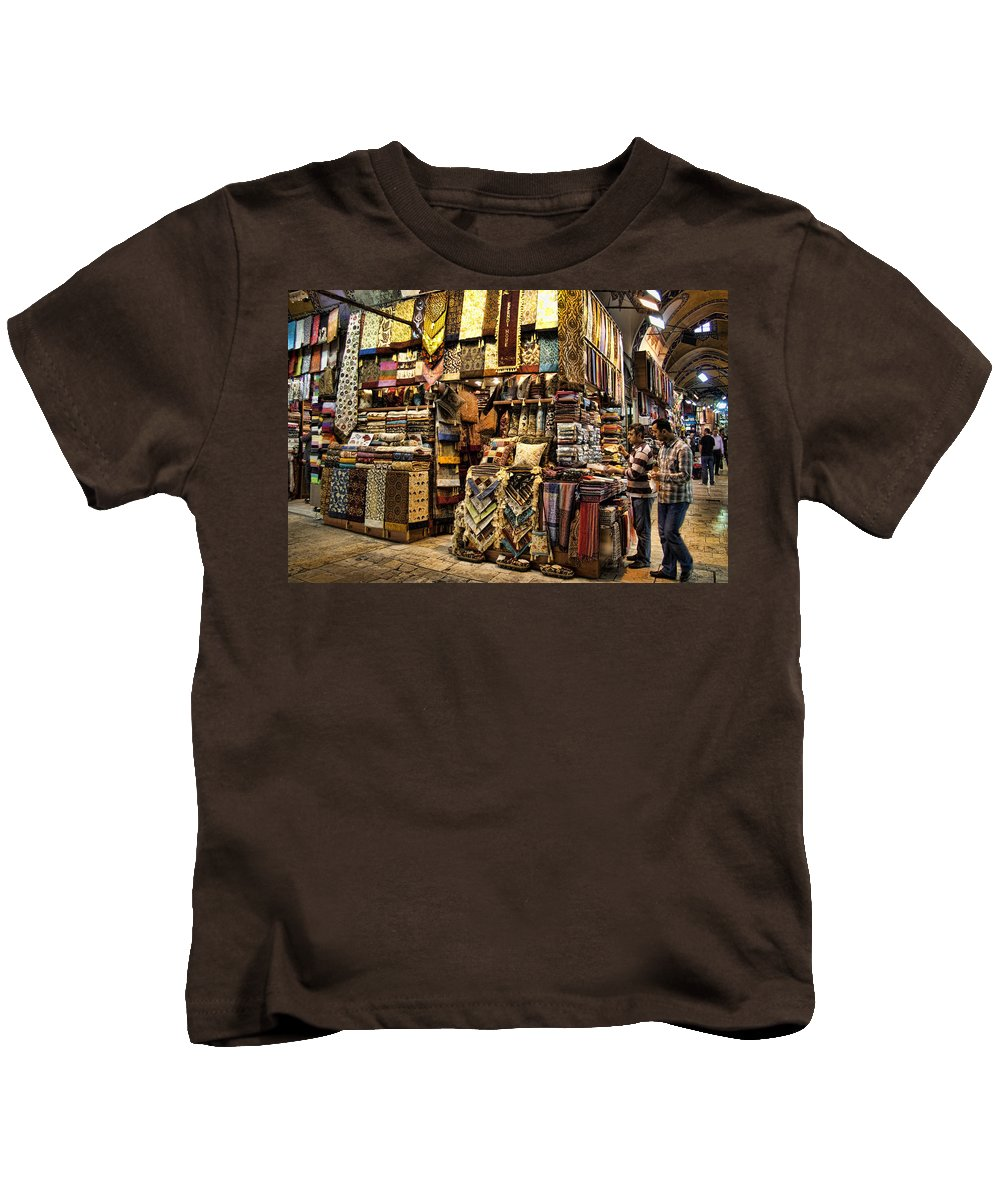 Turkey Kids T-Shirt featuring the photograph The Grand Bazaar In Istanbul Turkey by David Smith