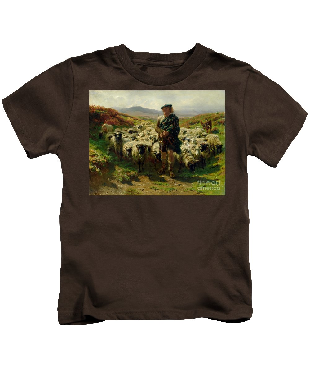 The Kids T-Shirt featuring the painting The Highland Shepherd by Rosa Bonheur