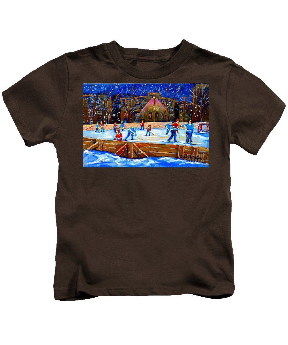 Snow Kids T-Shirt featuring the painting The Hockey Rink by Carole Spandau