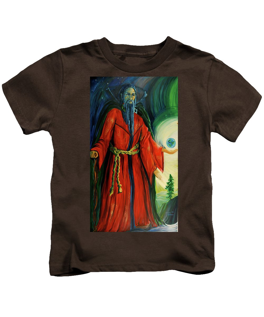 Father Time Kids T-Shirt featuring the painting The Holly King by Jennifer Christenson