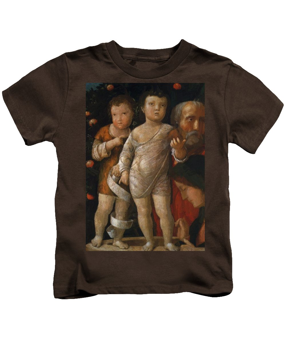 The Kids T-Shirt featuring the painting The Holy Family With St John by Mantegna Andrea