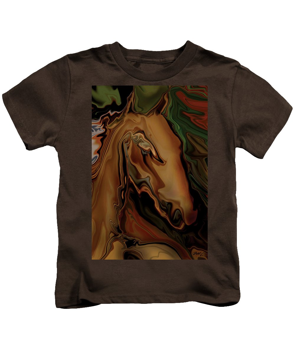 Animal Kids T-Shirt featuring the digital art The Horse by Rabi Khan