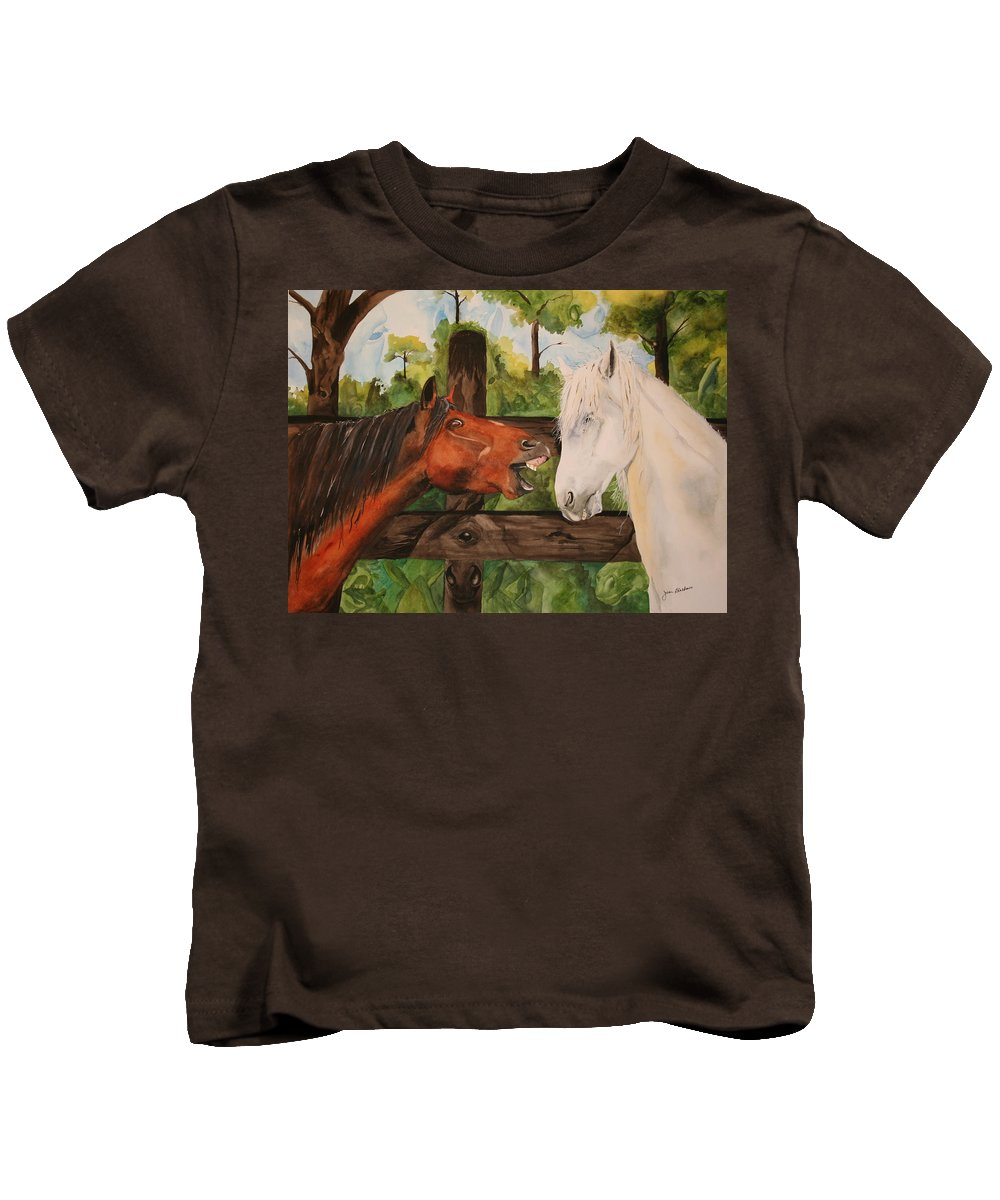 Horse Kids T-Shirt featuring the painting The Horse Whisperers by Jean Blackmer