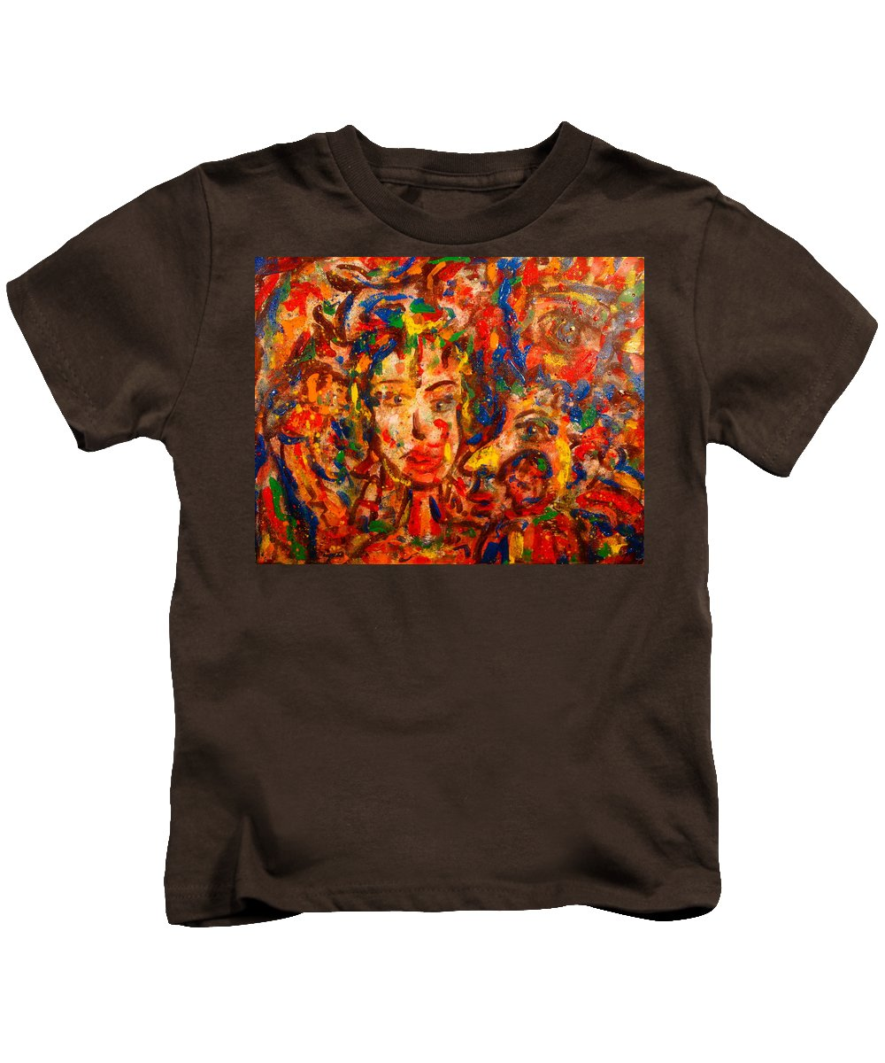 Abstract Kids T-Shirt featuring the painting The King And I by Natalie Holland
