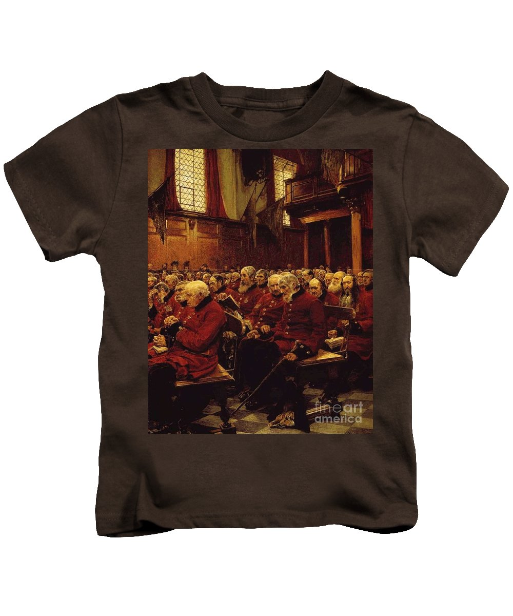 Hubert Von Herkomer - The Last Muster 1875 Kids T-Shirt featuring the painting The Last Muster by MotionAge Designs