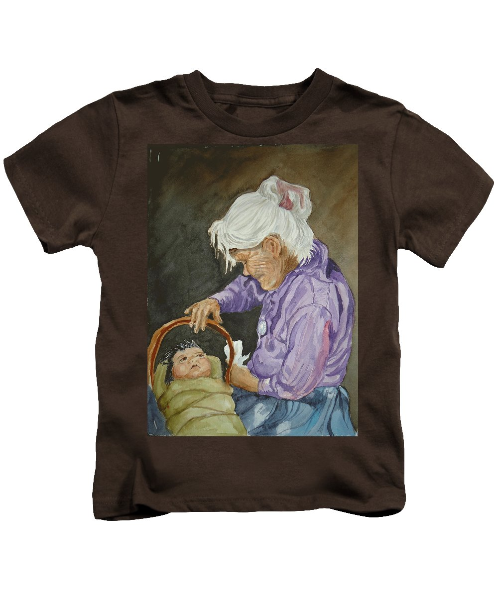 Navajo Kids T-Shirt featuring the painting The Next Generation by Charme Curtin