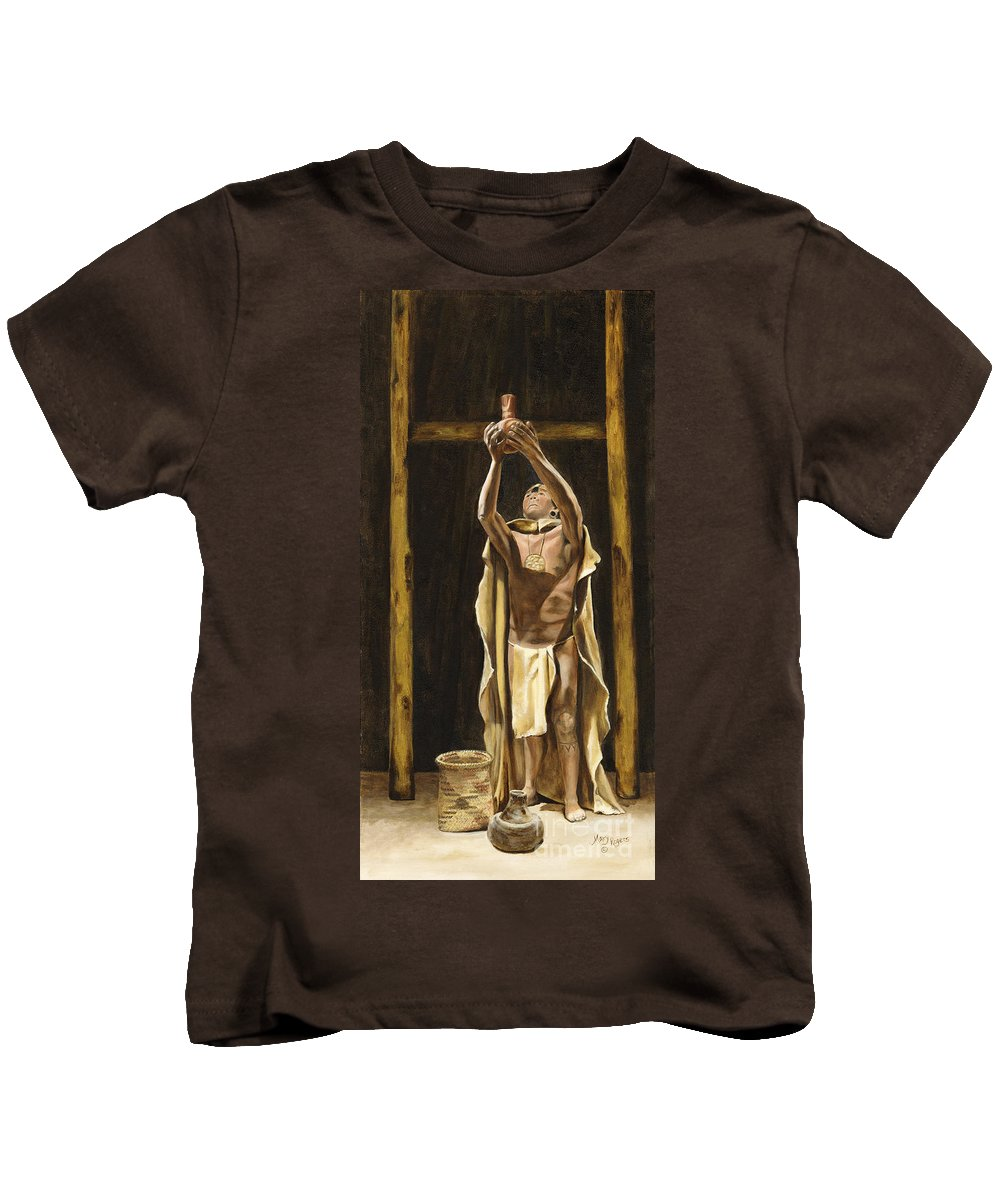 Sepia Kids T-Shirt featuring the painting The Offering by Mary Rogers