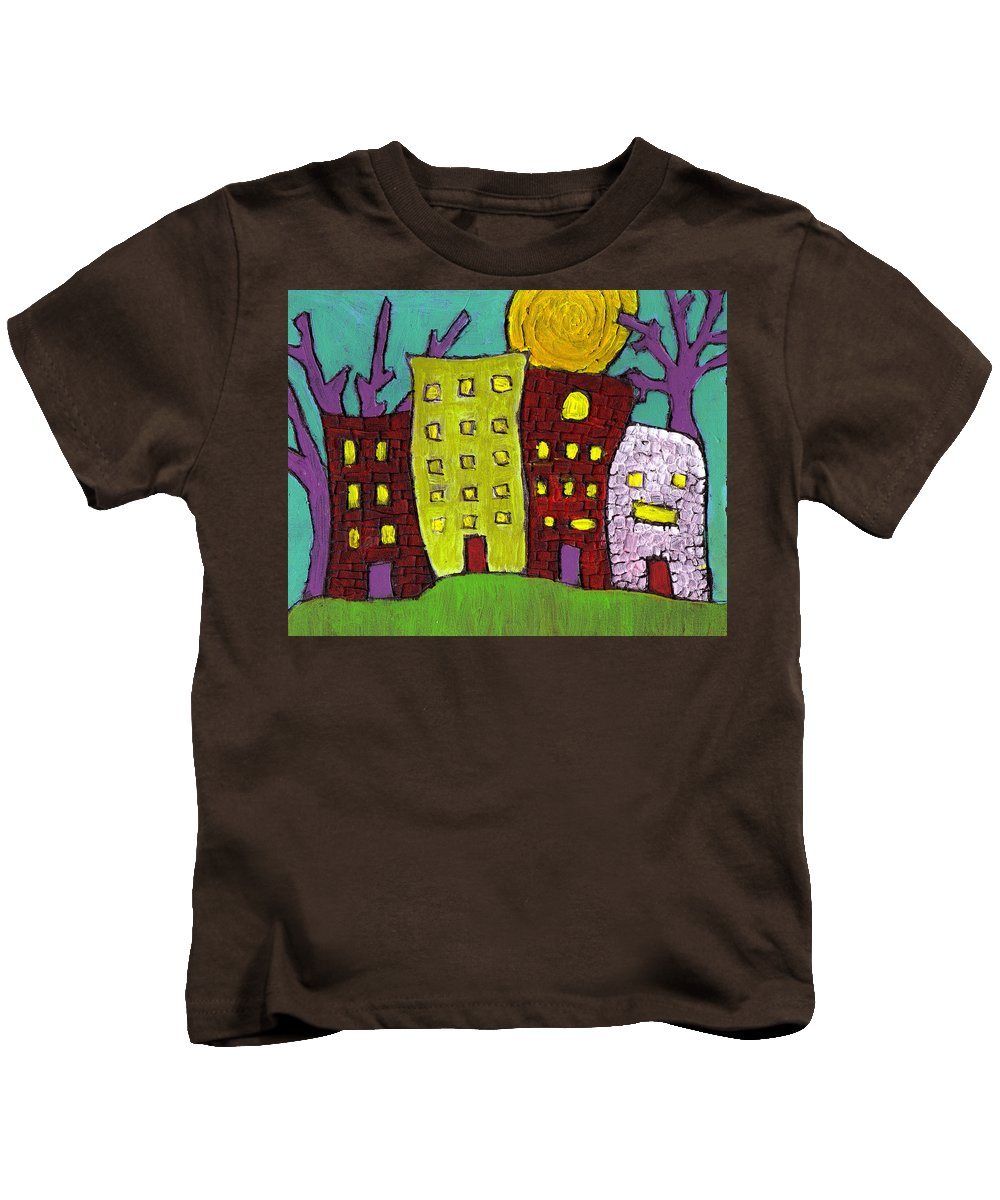 Buildings Kids T-Shirt featuring the painting The Old Neighborhood by Wayne Potrafka