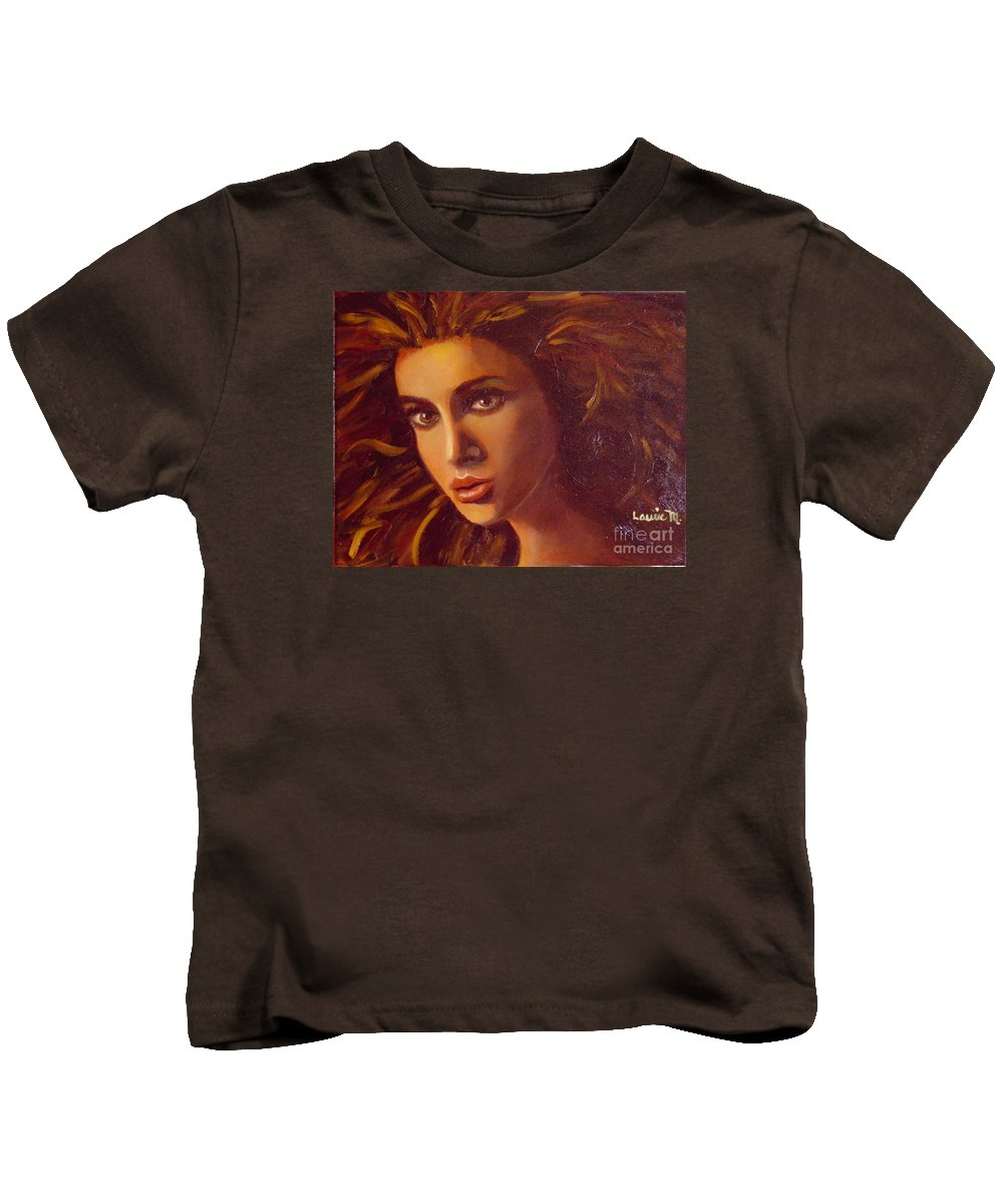 Portrait Kids T-Shirt featuring the painting The Oracle by Laurie Morgan