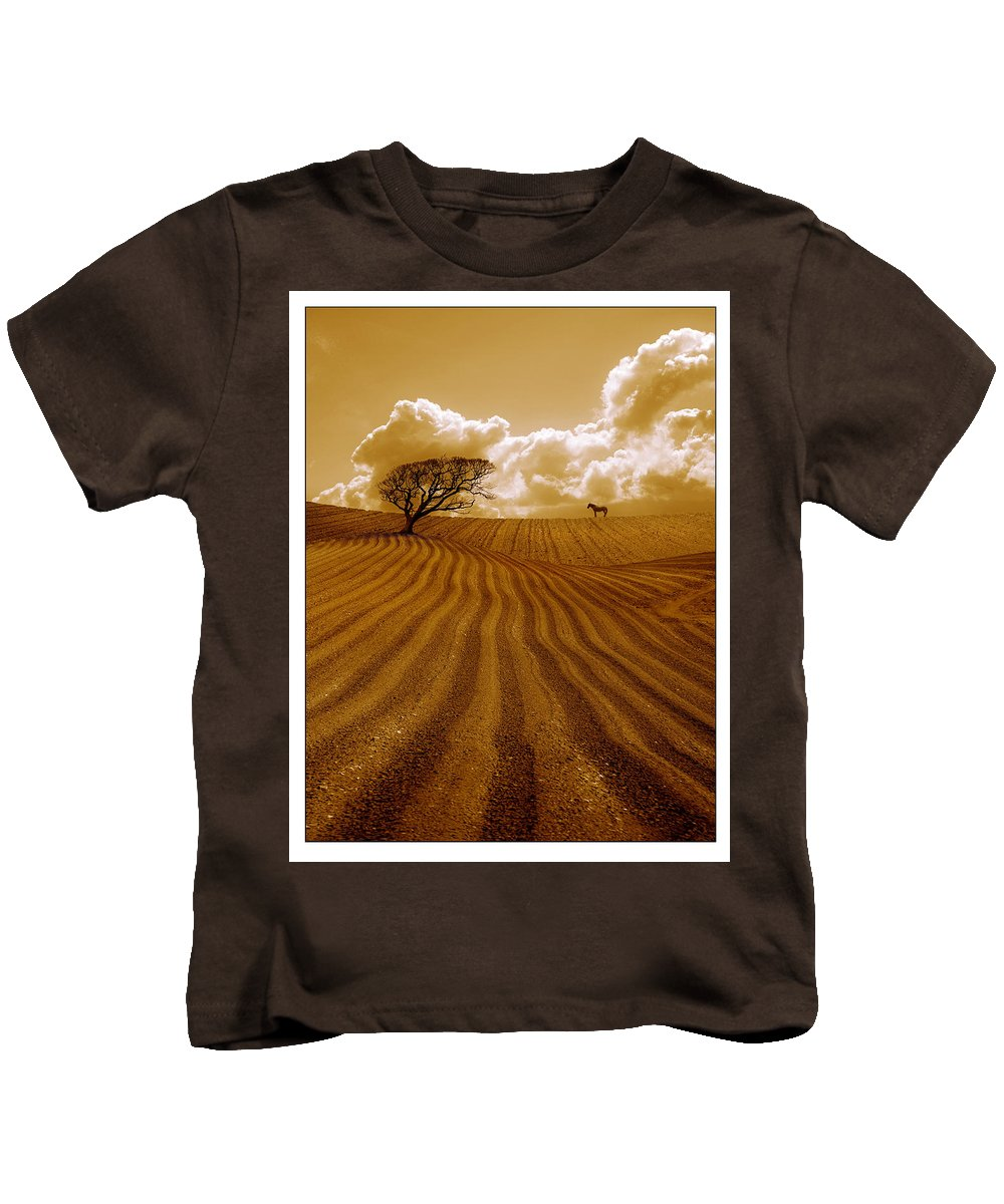 Field Kids T-Shirt featuring the photograph The Ploughed Field by Mal Bray