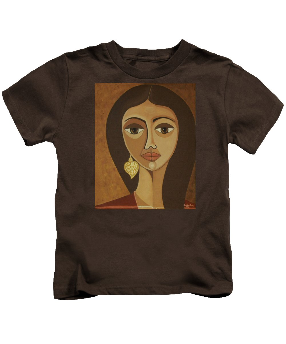 Portuguese Kids T-Shirt featuring the painting The Portuguese Earring by Madalena Lobao-Tello