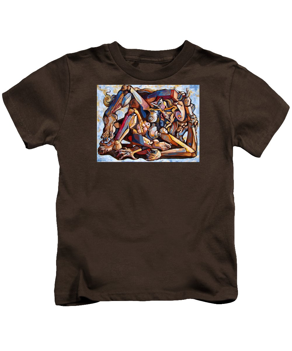 Surrealism Kids T-Shirt featuring the painting The Rape by Darwin Leon