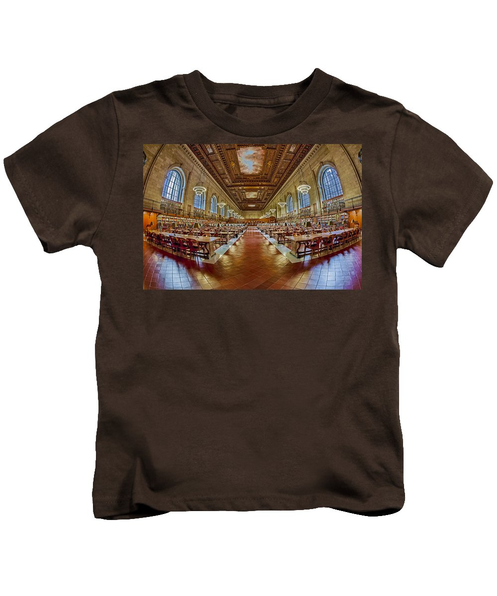 The New York Public Library Kids T-Shirt featuring the photograph The Rose Main Reading Room Nypl by Susan Candelario