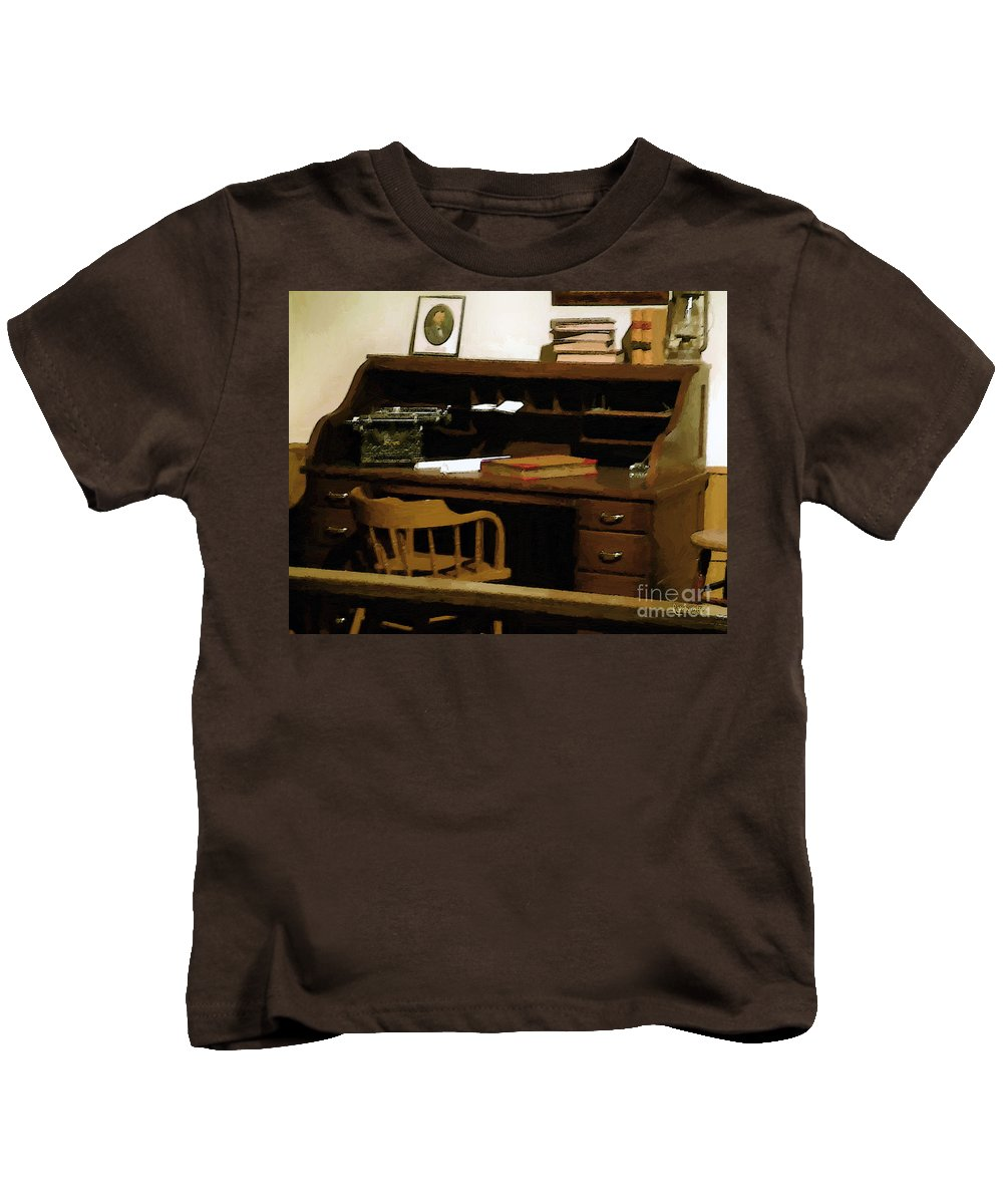Antiques Kids T-Shirt featuring the digital art The Sheriff Is Out by RC DeWinter