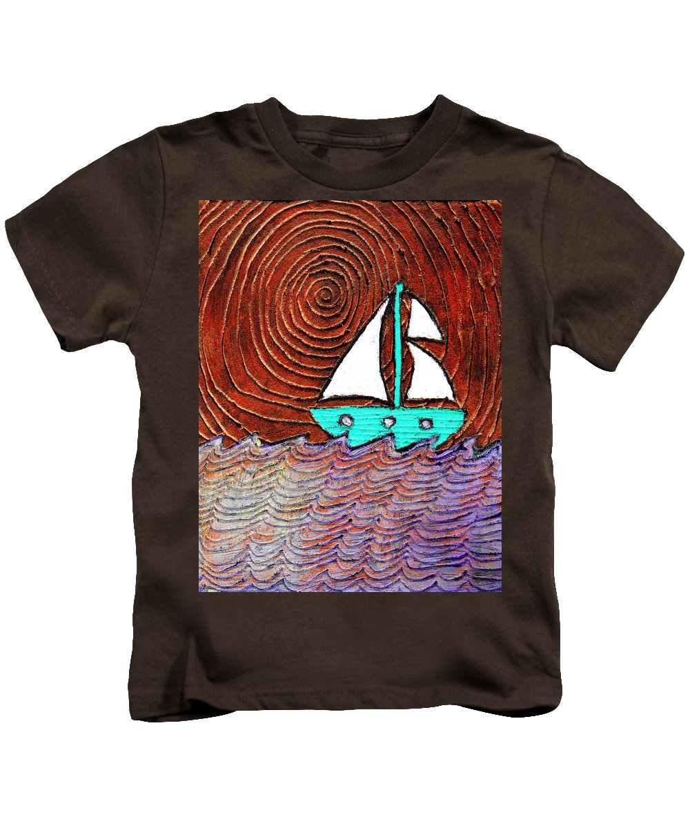 Sailing Kids T-Shirt featuring the painting The Sky Was Bronze That Night by Wayne Potrafka