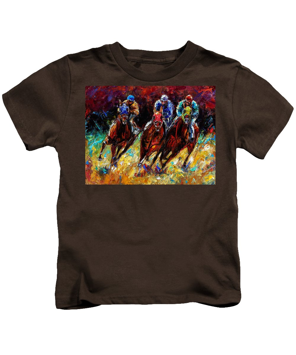 Horses Paintings Kids T-Shirt featuring the painting The Turn by Debra Hurd