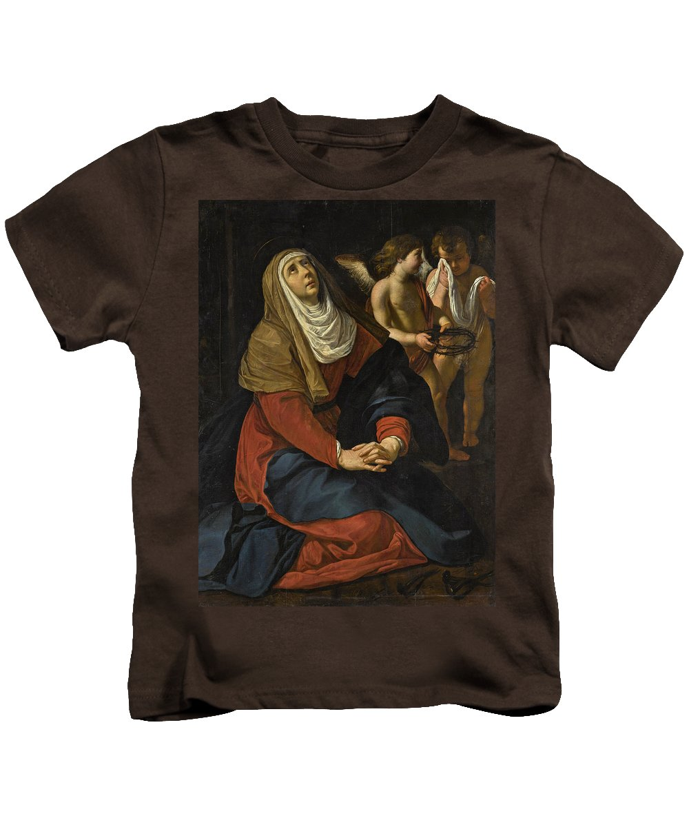 Gerard Seghers Kids T-Shirt featuring the painting The Virgin In Prayer At The Foot Of The Cross, With Crying Angels by Gerard Seghers