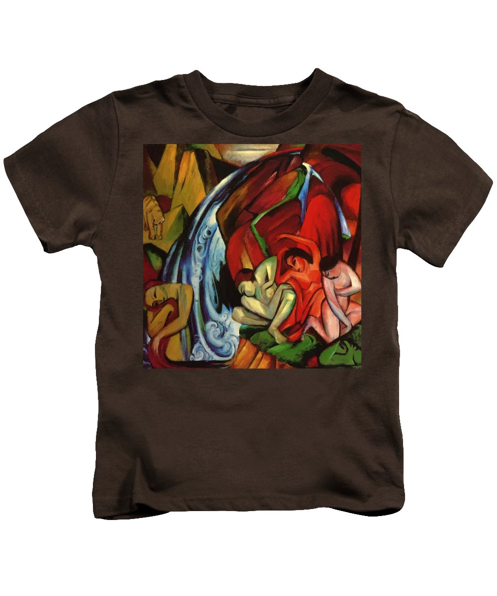 The Kids T-Shirt featuring the painting The Waterfall 1912 by Marc Franz
