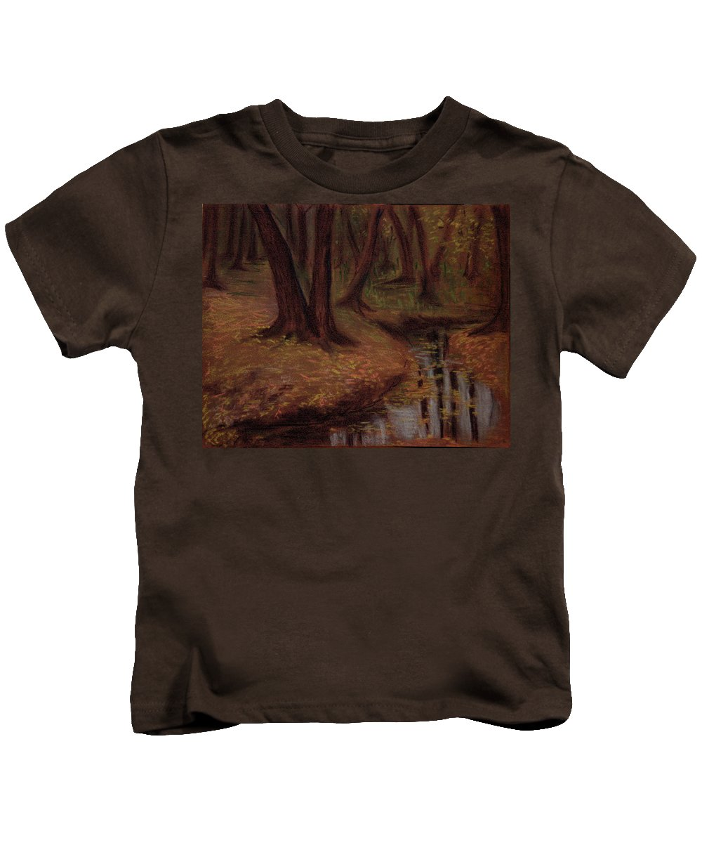 Woods Kids T-Shirt featuring the pastel The Woods Are Deep And Dark by Asha Sudhaker Shenoy